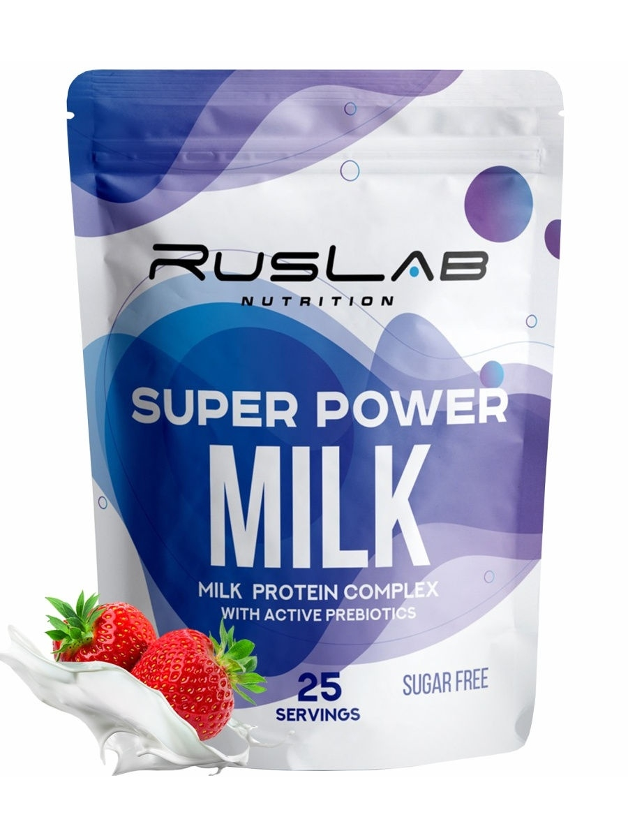 Super power milk-клубника Ruslabnutrition 12050754 в интернет-магазине Wildberries