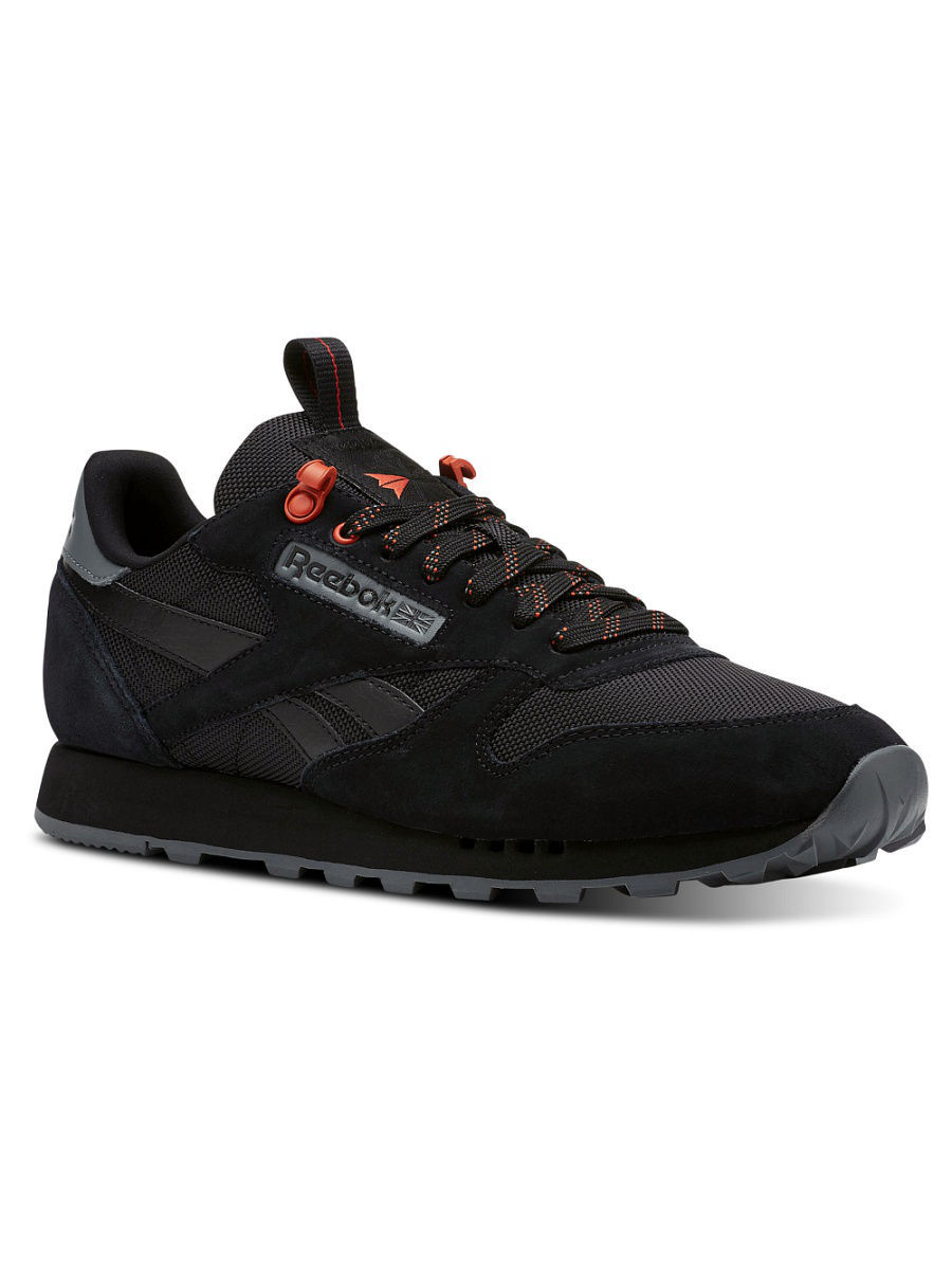9b5f658e Кроссовки CL LEATHER MU BLACK/ALLOY/CAROTENE, Reebok