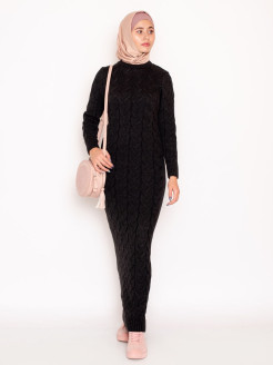"Knitted dress ""Yasmina"" / dress elongated / knitted dress in the floor / textured knitting Yasmin"