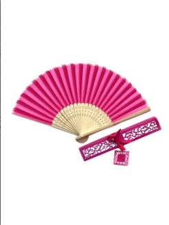 Foldable wooden pink fan with box Boninio Fans