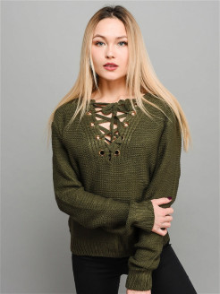 Women's sweatshirt with ties / V-neck / Loose fit / Knitted / Long sleeve NORNI