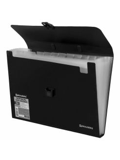 Plastic A4 briefcase, 13 compartments Brauberg