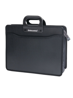 Plastic A4 briefcase, 4 compartments, with edging Brauberg