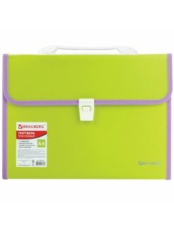Plastic briefcase, A4, 13 compartments Brauberg