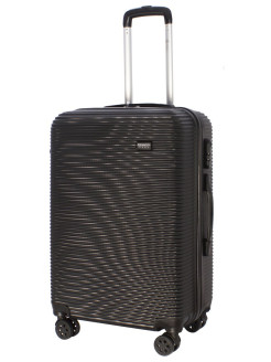 4-wheel TOUR DAILY suitcase plastic, medium M, black, 60 l, 66 cm PROFFI