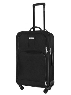 Suitcase fabric on 4 wheels TOUR BASIC black, super light, medium, M, 60 l, 70 cm PROFFI