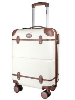 Suitcase with leather straps Tour Vintage, on 4 wheels, small, S, 36 L, 55 cm PROFFI