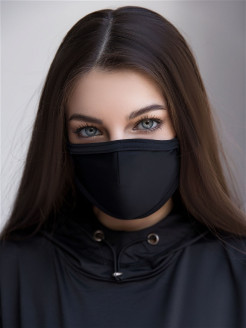"Маска защитная многоразовая Mask BF ""Black"" Bona Fide"