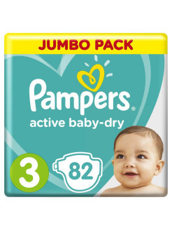 Подгузники Pampers Active Baby-Dry 6-10 кг, размер 3, 82 шт. Pampers