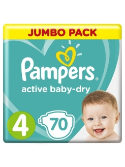 Подгузники Pampers Active Baby-Dry 9-14 кг, размер 4, 70 шт. Pampers