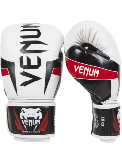 Перчатки боксерские Venum Elite Boxing Gloves - White/Black/Red Venum