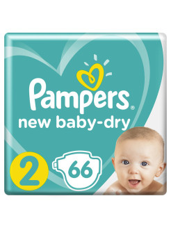 Подгузники Pampers New Baby-Dry 4-8 кг, размер 2, 66 шт. Pampers