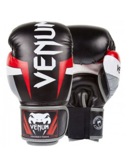 Перчатки боксерские Venum Elite Boxing Gloves - Black/Red/Grey Venum