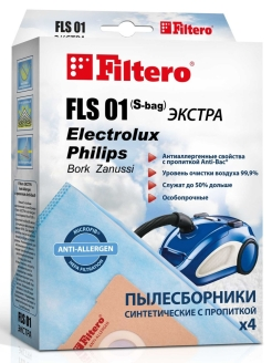 Vacuum cleaner bag, 4 things., FLS 01 Filtero