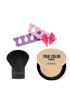 Набор: кисть кабуки PROFESSIONAL LINE & пудра COMPACT POWDER TRUE COLOR тон 02 & ПОДАРОК DIVAGE