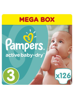 Подгузники Pampers Active Baby-Dry 5-9 кг, 3 размер, 126 шт. Pampers