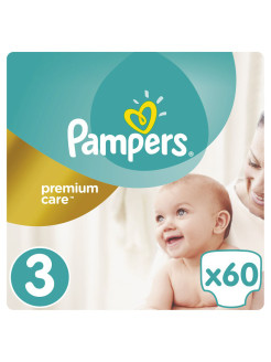 Подгузники Pampers Premium Care 5-9 кг, 3 размер, 60 шт. Pampers