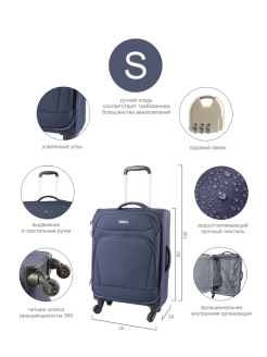 Suitcase on wheels, size S Edmins