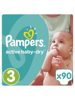 Подгузники Pampers Active Baby-Dry 5-9 кг, 3 размер, 90 шт. Pampers