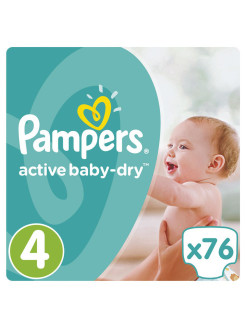 Подгузники Pampers Active Baby-Dry 8-14 кг, 4 размер, 76 шт. Pampers