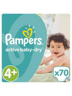Подгузники Pampers Active Baby-Dry 9-16 кг, 4+ размер, 70 шт. Pampers