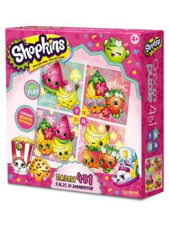 Шопкинс. Пазл 4 в 1 по 9 эл. 16 эл. 25 эл. 36 эл. Tropical. Shopkins