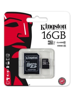 Флеш карта microSDHC 16Gb Class10 Kingston SDC10G2/16GB + adapter Kingston