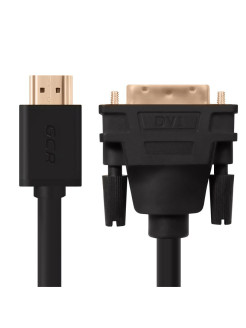 Кабель 1.0m HDMI-DVI черный, OD7.3mm, 28/28 AWG, 19M / 25M double link, GCR GCR