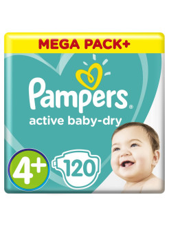 Подгузники Pampers Active Baby-Dry 10-15 кг, размер 4+, 120 шт. Pampers