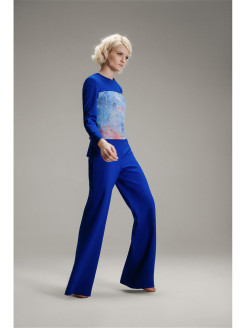 Blue electric flared trousers WATCH ME MOSCOW