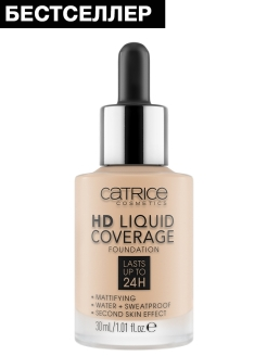 Основа тональная hd Liquid coverage foundation 010 Light Beige, 30 мл CATRICE.
