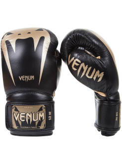 Перчатки боксерские Venum Giant 3.0 Black/Gold Nappa Leather Venum