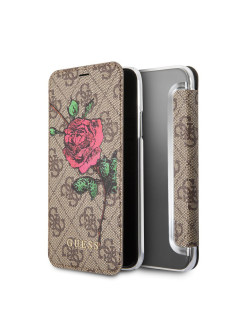Чехол Guess для iPhone X Flower desire 4G Booktype PU/roses, Brown GUESS