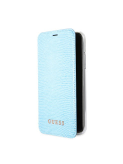 Чехол Guess для iPhone X Python Booktype PU, Blue GUESS