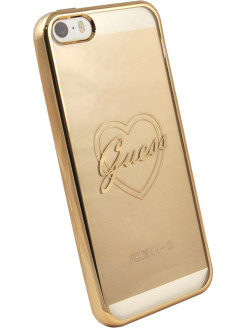 Чехол Guess для iPhone 5S/SE SIGNATURE HEART Hard TPU Gold GUESS