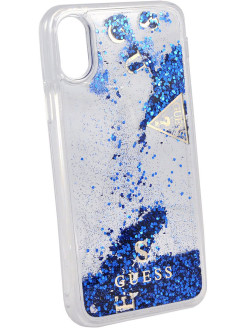 Чехол Guess для iPhone X Glitter Hard PC, Blue GUESS