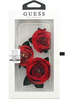 Чехол Guess для iPhone X Flower desire Transparent Hard PC/Roses, Red GUESS