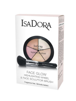 Набор Палетка хайлайтеров Face Glow Highlighting Wheel 51 и Кисть д/макияжа лица Face Sculptor ISADORA