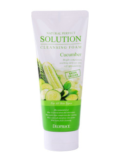 Пенка для умывания огурец NATURAL PERFECT SOLUTION CLEANSING FOAM GREEN EDITION CUCUMBER 170гр DEOPROCE