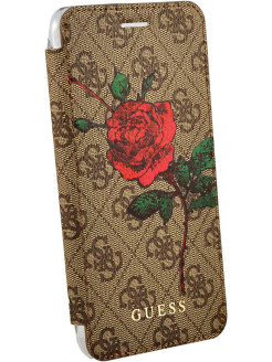 Чехол Guess для iPhone 7Plus/8Plus Flower desire 4G Booktype PU/roses Brown GUESS