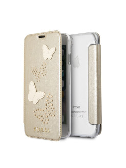 Чехол Guess для iPhone 7/8 Studs&Sparkles Booktype PU/Butterflies Beige GUESS