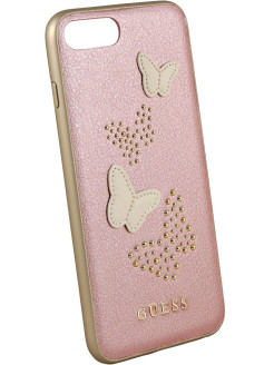 Чехол Guess для iPhone 7Plus/8Plus Studs&Sparkles Hard PU/Butterflies Rose gold GUESS