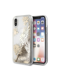 Чехол Guess для iPhone X Glitter Palm spring Hard PC Gold GUESS