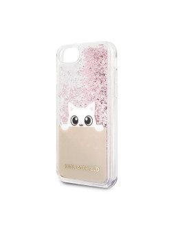 Чехол Lagerfeld для IPhone7/8 Liquid glitter Peek a Boo Hard TPU Transp/Pink gold Karl Lagerfeld