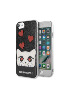 Чехол Lagerfeld iPhone 7/8 Double layer Choupette valentine Hard TPU Glitter black Karl Lagerfeld