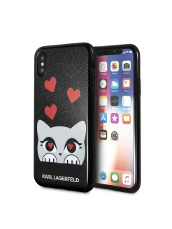 Чехол Lagerfeld для iPhone X Double layer Choupette valentine Hard TPU Glitter black Karl Lagerfeld