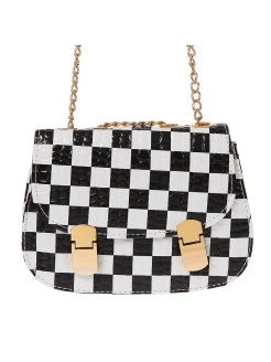 Women bag on the checkers valve, 1 section, long chain, white / black Queen fair