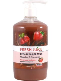 Крем-гель для душа Chocolate & Strawberry 750мл с дозатором (насос) Fresh Juice