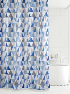 Штора 180х180 д/в TRIANGULAR SCRAWL  (blue) Bath Plus