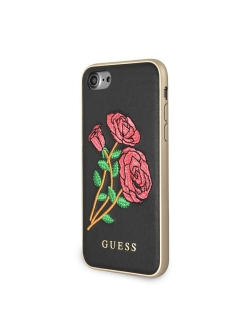 Guess для iPhone 7/8 Flower desire Hard PU/Embroidered roses Black GUESS